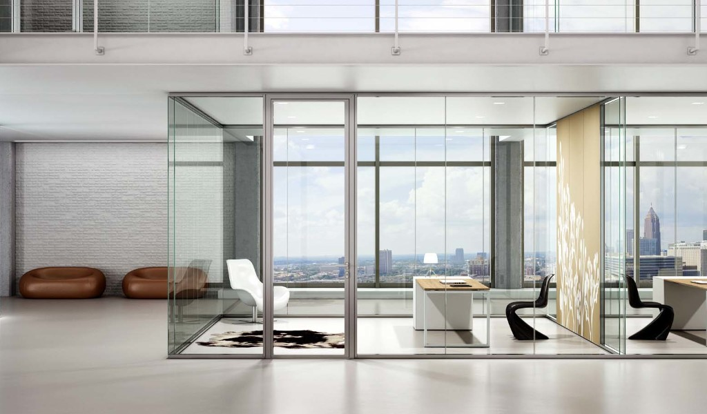 Amato Pareti in vetro - Pareti ufficio vetrate AQ01